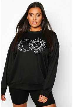 Plus Sun And Moon Oversized Sweat, Black, FEMMES