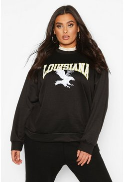 Plus Louisiana Oversized Sweat, Black, MUJER