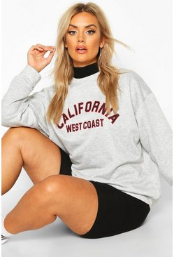 Womens Grey Plus California Slogan Oversized Sweat