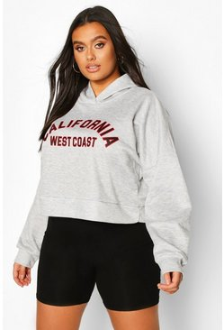 Grey marl Plus California Slogan Crop Hoodie Sweat