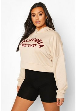 Plus California Slogan Crop Hoodie Sweat, Sand, Donna