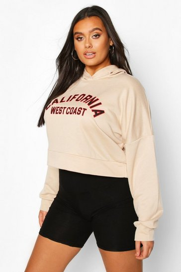 Sand Plus California Slogan Crop Hoodie Sweat