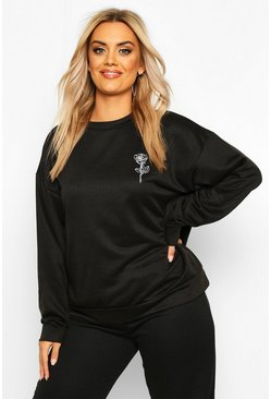 Black Plus Rose Pocket Print Oversized Sweat