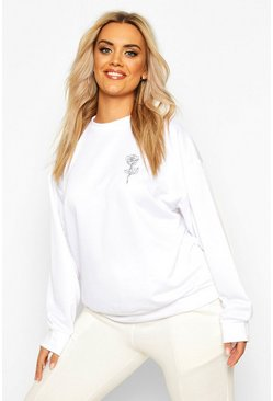 Plus Rose Pocket Print Oversized Sweat, White, MUJER