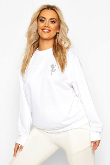 Womens White Plus Rose Pocket Print Oversized Sweat