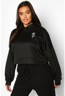 Womens Black Plus Rose Pocket Print Crop Hoodie