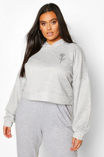 Womens Grey Plus Rose Pocket Print Crop Hoodie