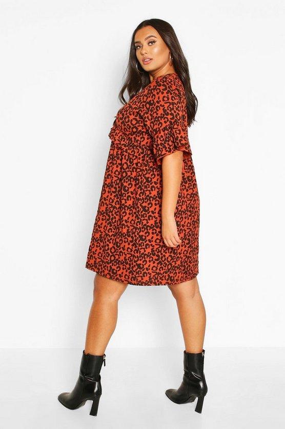Plus Leopard Ruffle Rib Smock Dress