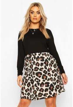 Womens Black Plus Leopard Contrast Long Sleeve Smock Dress