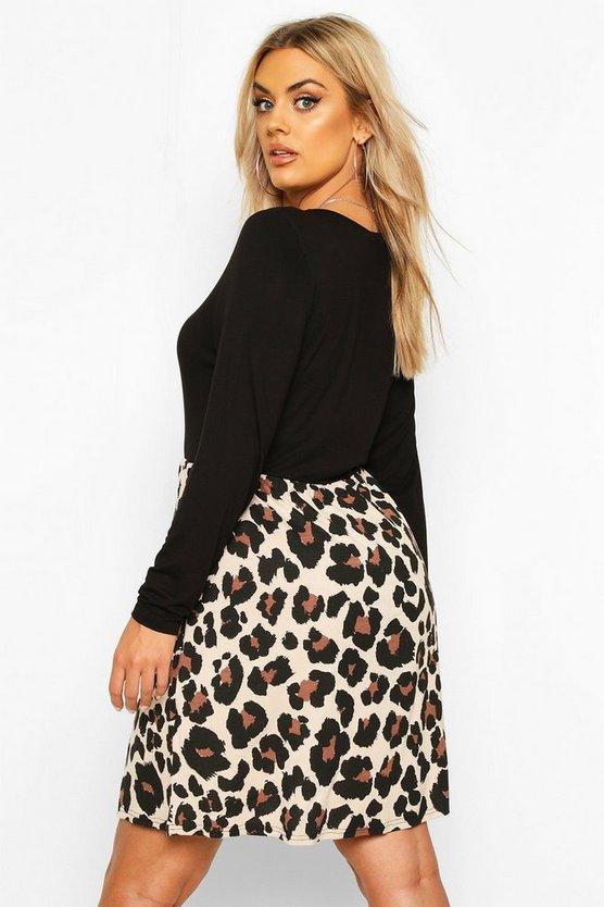 Plus Leopard Contrast Long Sleeve Smock Dress