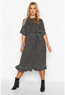 Plus Polka Dot Ruffle Midi Smock Dress, Black