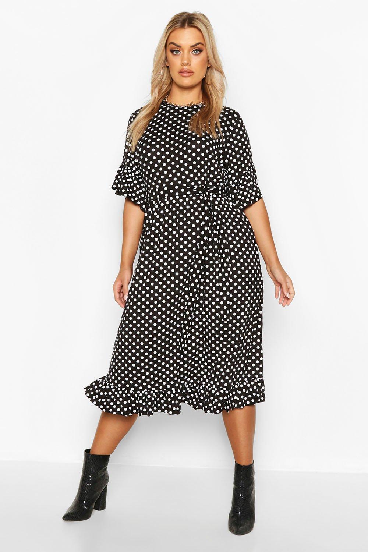 Plus Polka Dot Ruffle Midi Smock Dress 4