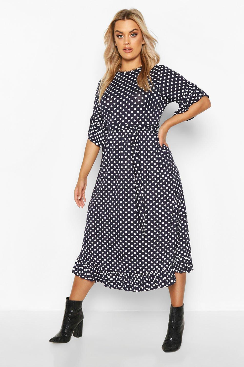 1920s Day Dresses, Tea Dresses, Mature Dresses with Sleeves Womens Plus Polka Dot Ruffle Midi Smock Dress - navy - 14 $42.00 AT vintagedancer.com