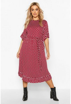 Plus Polka Dot Ruffle Midi Smock Dress, Wine