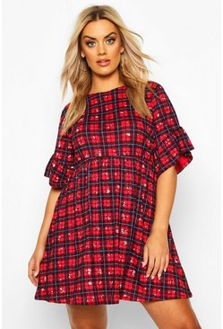 Plus Floral Check Smock Dress, Red, FEMMES