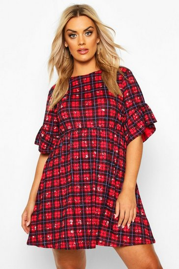 Womens Red Plus Floral Check Smock Dress