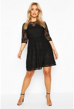 Plus Lace Smock Dress, Black, MUJER