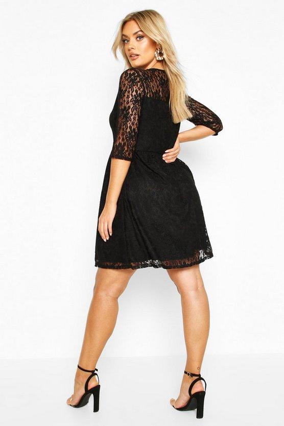 Plus Lace Smock Dress