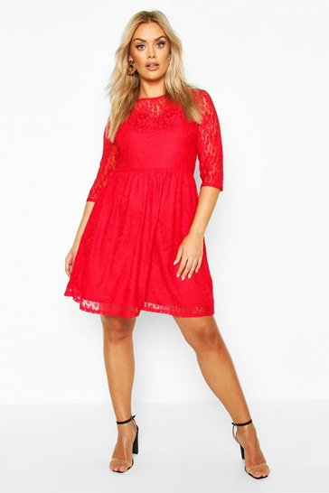 Red Plus Lace Smock Dress