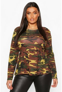 Dam Green Plus Camo Print Longsleeve Smock Top