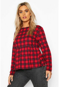 Womens Red Plus Tartan Check Longsleeve Smock Top