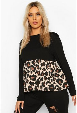 Womens Black PLus Contrast Leopard Long Sleeve Smock Top