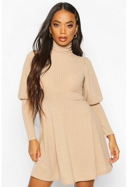 Petite Roll Neck Volume Sleeve Skater Dress, Stone, MUJER