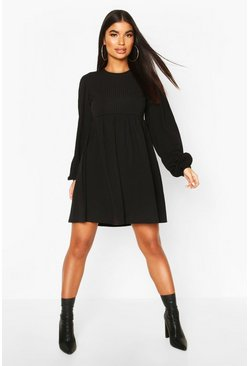 Petite Rib Volume Sleeve Smock Dress, Black