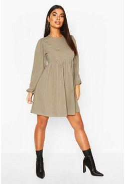 Petite Rib Volume Sleeve Smock Dress, Khaki, ЖЕНСКОЕ