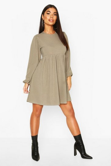 Womens Khaki Petite Rib Volume Sleeve Smock Dress