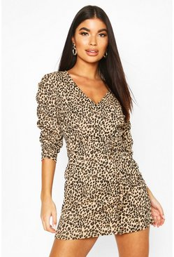 Womens Black Petite Leopard Print Rib Ruched Sleeve Mini Dress