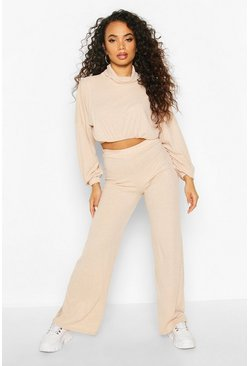 Petite Knitted Rib Top & Wide Leg Loungeset, Oatmeal, DAMEN