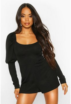 Womens Black Petite Puff Sleeve Square Neck Playsuit