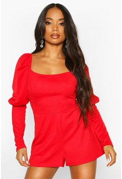 Red Petite Puff Sleeve Square Neck Playsuit