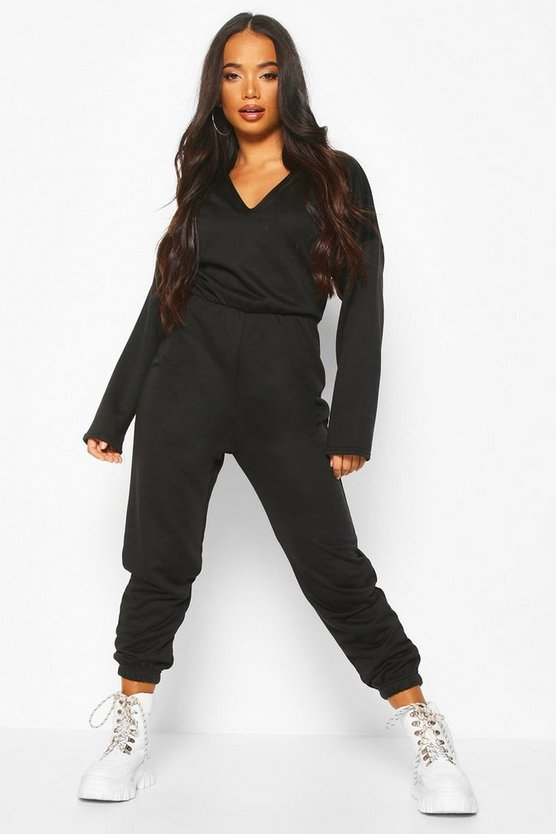 Black Petite Loopback V-Neck Jumpsuit