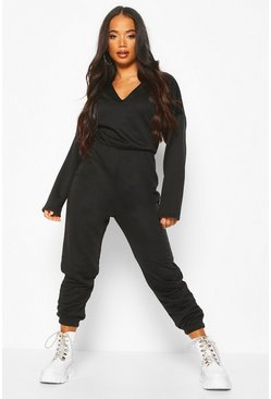 Petite Loopback V-Neck Jumpsuit, Black