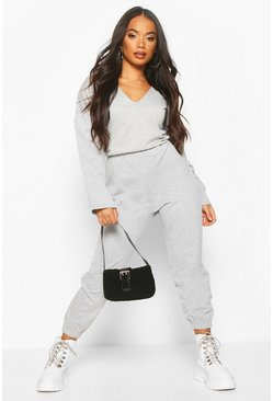 Grey Petite Loopback V-Neck Jumpsuit