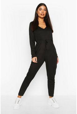 Womens Black Petite Knitted Rib V-Neck Jumpsuit