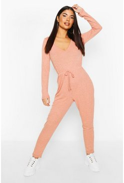 Petite Knitted Rib V-Neck Jumpsuit, Rust