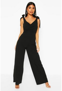 Womens Black Petite Tie Shoulder Wide Leg Jumpsuit