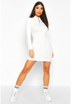 Ivory Petite Zip Up Ribbed Mini Dress