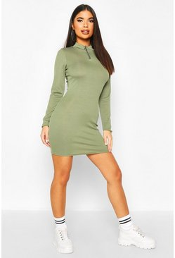 Khaki Petite Zip Up Ribbed Mini Dress