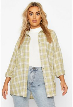Womens Sage Plus Check Oversized Shirt
