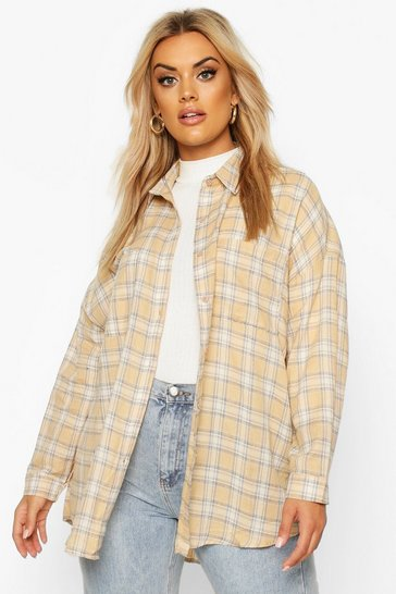 Womens Stone Plus Check Oversized Shirt