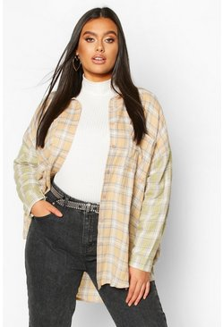 Multi Plus Contrast Sleeve Check Oversized Shirt