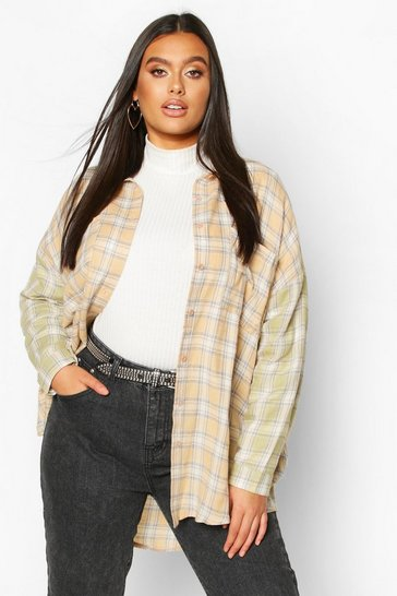 Womens Multi Plus Contrast Sleeve Check Oversized Shirt