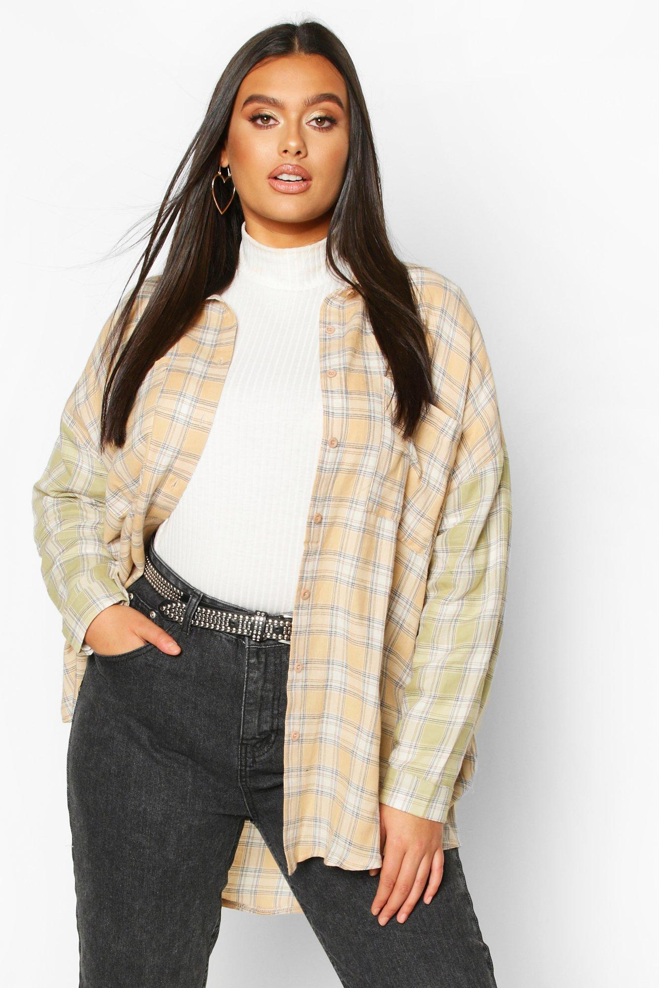 Plus Contrast Sleeve Check Oversized Shirt 8