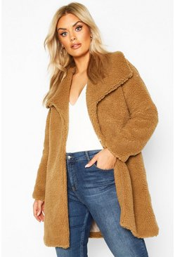 Womens Brown Plus Shawl Collar Teddy Faux Fur Jacket