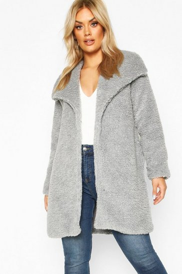 Grey Plus Shawl Collar Teddy Faux Fur Jacket