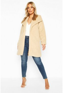 Stone Plus Shawl Collar Teddy Faux Fur Jacket